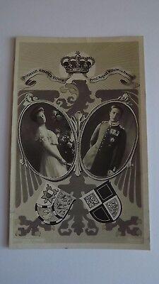 1908 Postcard Wedding Prince August Wilhelm & Princess Alexandra Victoria Used