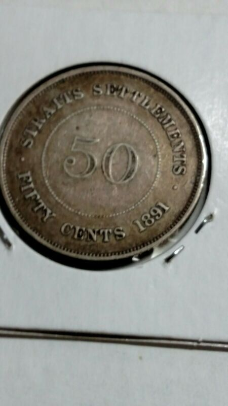 VINTAGE 1891 STRAITS SETTLEMENTS 50 CENTS SILVER COIN RARE DATE