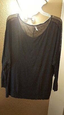 Womens Glitz Knit Top with Mesh Inset sleeves Size 3x Free Shipping in the USA