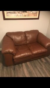 Leather love seat and matching couch