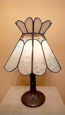 Vintage Blue Sky & Clouds Stained Glass Shade on Tree Trunk Base Lamp