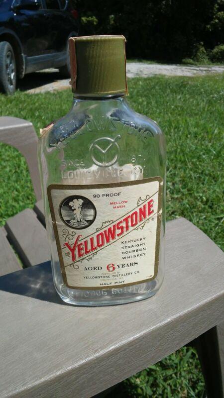Vintage Yellowstone Kentucky Straight Bourbon Whiskey Bottle 1/2 Pint