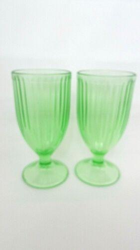 Vintage Depression Glass Set Of 2 Green Hazel Atlas Stemware Soda Pop Ice Cream
