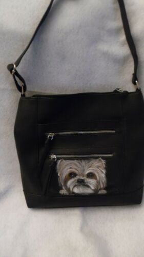 Yorkie hand painted Yorkshire Terrier  Purse