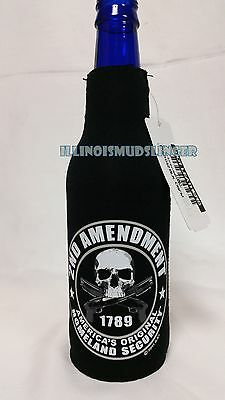 2nd Amendment Skull and Guns Zip Up Bottle Koozie Coozie Coolie Cooler Huggie