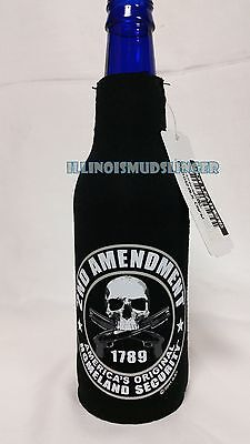 2nd Amendment Skull and Guns Zip Up Bottle Koozie Coozie Coolie Cooler Huggie
