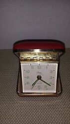 Vintage Aristocrat Artco Luminous Wind Up Alarm Clock RED