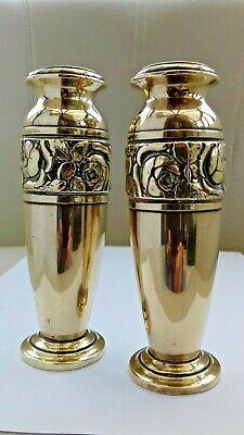 Art Nouveau PAIR Small Brass Vases. ORIGINAL PERIOD COLLECTABLES.