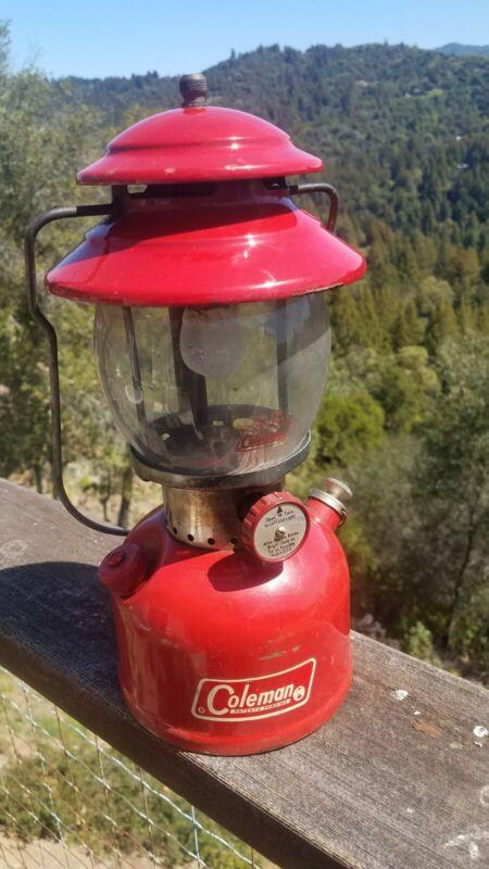 Vintage 1969 Red Coleman 200A Lantern & orig. globe Sunshine Of The Night Works!