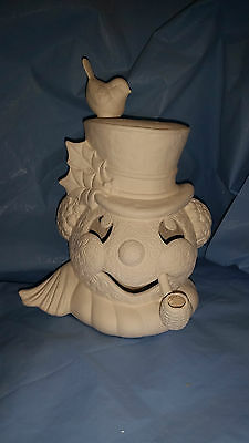 Ceramic Bisque Ready to Paint Small Frosty the Snowman Head with clip in light