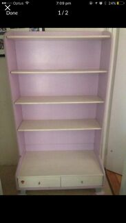 Solid wood girls bed and bookcase