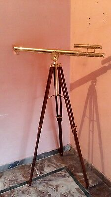 Vintage Brass Double Barrel Tripod Telescope Nautical Maritime Antique Spyglass