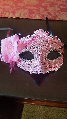 Pink Masquerade Mask Feathers Mardi Gra Lace Halloween Sexy Rave Festival - Halloween Mardi Gras Festival