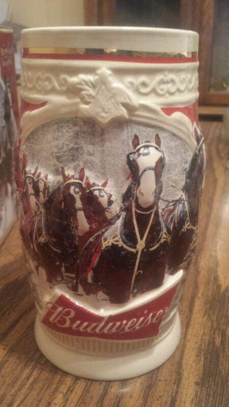 2015 Budweiser bud Holiday Stein Christmas Beer  SMALL FACTORY FLAW With Box NEW
