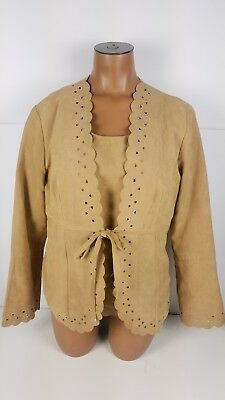 Karin Stevens Faux Suede Tank Top + Jacket 2 Piece Heart Eyelets Womens Size 10 2 Piece Faux Suede