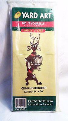 1998 Christmas Yard Art DIY Wood Cut Out Project Climbing Reindeer 24x70