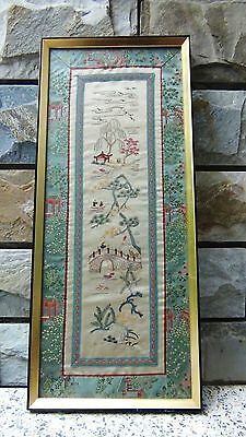 ANTIQUE CHINESE SILK EMBROIDERY VILLAGE SCENE FRAMED WITH GLASS