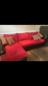 Philippe dagenais couch red faux suede with brown sides