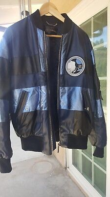 100% Authentic Men Versace Leather Astrount Bomber Jacket Italy blue black