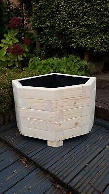 Large Wooden Garden Planter corner pot plants flowers planter 80x80x35cm +Liner