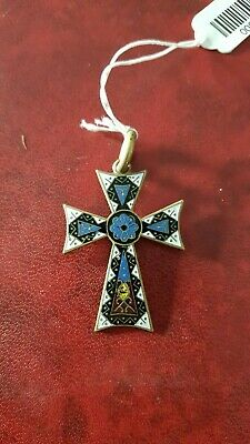 Pendant Religious Cross Antique Enamelled And Brass - REF00001476