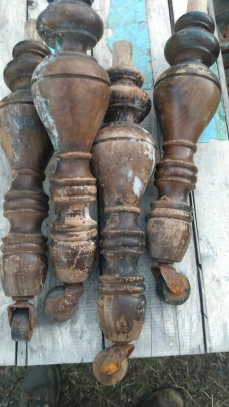 ⭐(4)~ANTIQUE WOODEN TABLE LEGS W/CASTERS SHIP FREE 😃
