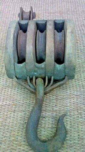 Vintage Antique Primitive Wooden Barn  Pulley or .ANTIQUE NAUTICAL SAILBOAT
