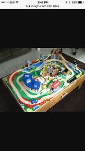 Imaginarium train table with large container of tracks, trains
