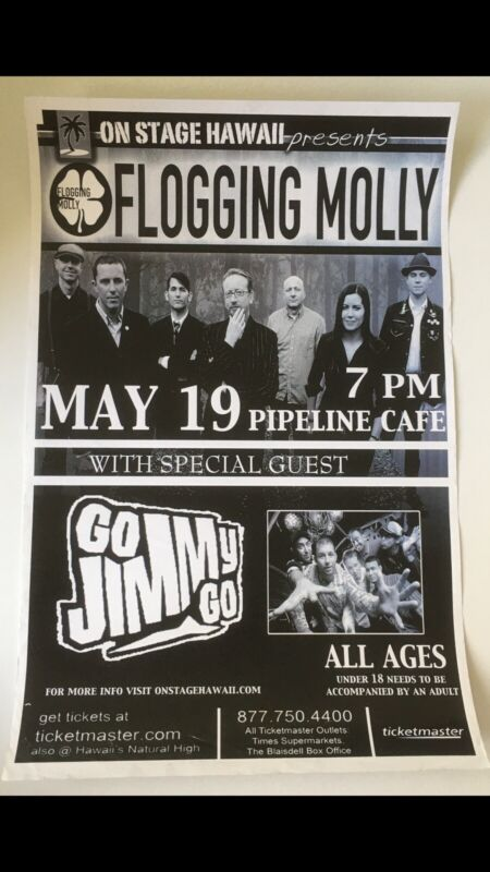 FLOGGING MOLLY • GO JIMMY GO • ORIGINAL VINTAGE HAWAII CONCERT POSTER.