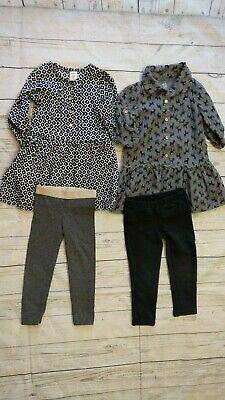 Carters 2T Girl Woodland Deer Flannel Dress Black White Gray Pants LOT