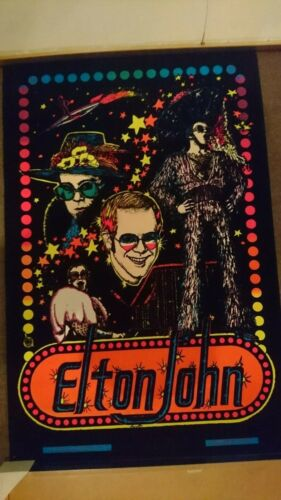 Vintage Elton John blacklight velvet poster from 1975