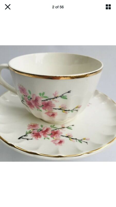 Robert WS George Bolero Peach Blossom Two Tea Cups With Saucers Vintage Ruffled