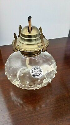 Vintage Lamplight Farms Clear Glass Paraffin Lamp Base & Burner Only 14.5cm high