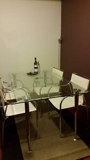 Glass Dining Table & 4 White Chairs Wolli Creek Rockdale Area Preview