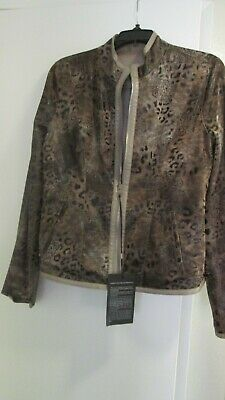 womens leather jacket Mertay Maleker reversible taupe cheetah L fits 8-10 (M)