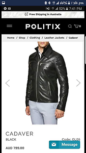 POLITIX REAL LEATHER JACKET Tweed Heads Tweed Heads Area Preview