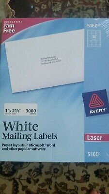 New Sealed Avery 5160 Quick Peel 1 X 2 58 White 3000 White Address Labels