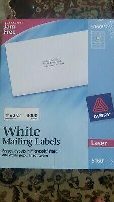 New Sealed Avery 5160 Quick Peel 1 X 2 58 White 3000 White Address Labels