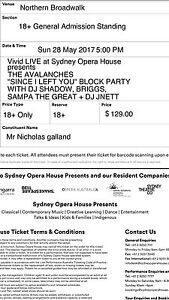 2x Avalanches/ DJ shadow tickets for sale Bronte Eastern Suburbs Preview