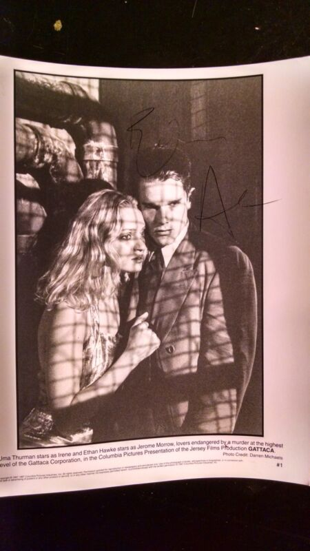 Ethan Hawke signed in person Gattaca 1997 movie photo 14140 Uma Thurman autograp