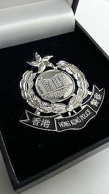 e5e1e4ef59f Hong Kong Police silver plate constable Badge Patch w Velvet Box Collectible