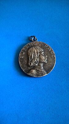 Vintage Medal Pendant Jeanne D'Arc/ st Joan of Arc Medal