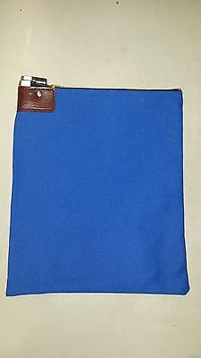 1 Royal Blue Canvas Locking Bank Deposit Bag With Deluxe Pop Up Lock And 2 Keys