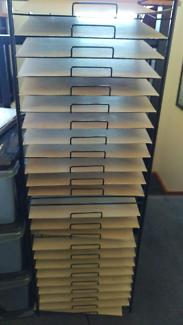 Scrapbooking paper storage rack