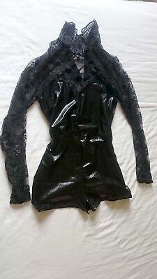 Half catsuit bodysuit latex look pole dancing pvc black costume fancy dress lace comprar usado  Enviando para Brazil