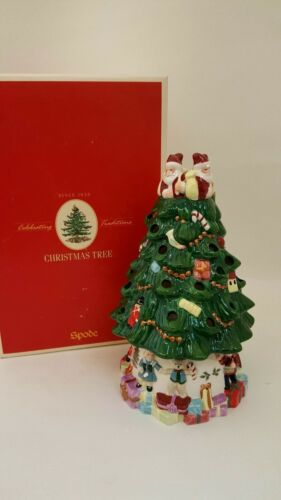 """SPODE CHRISTMAS TREE CANDLE LAMP 9"""" 2004 IN ORIGINAL BOX"""