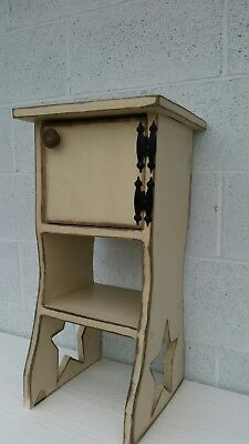 Cherry Solid Pine Table (Primitive Solid Pine Wooden Star Leg Table w/door Hand Crafted  24x 9.5x13.5
