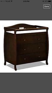 Dark brown dresser with change table
