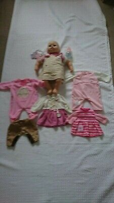 """INTERACTIVE BABY ANNABELL 17"""" ZAPF DOLL, BOTTLE&CLOTHES BUNDLE"""