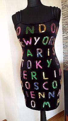 Kleid Neu Gr.S Uncle Sam Party Schwarz Palietten Silvester Mini Clubwear Stretch ()